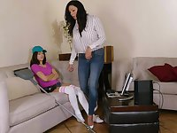 Energized mom seduces young step daughter