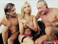 Big tittied Scottish hottie Christine Love sucks two dongs and gets pounded