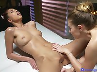 Late night lesbian sex on the massage table with Mary Kalisy