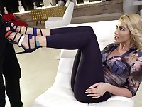 Blond temptress Cherry Kiss takes cumshots on feet after hardcore anal sex
