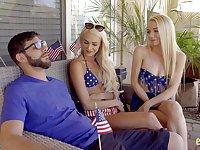 Kinky American chicks Emma Hix and Molly Mae fucked by one dude