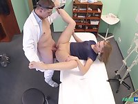 Doctor ass fucks young blonde during the monthly check up
