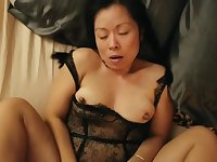 Sexy asian wife fucked in black sexy outfit