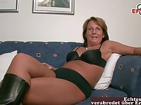 German old mature housewife at casting