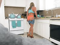 POV video of mature slut Megan Hart giving head in the kitchen