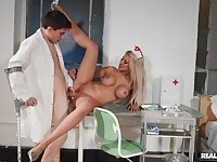 Nurse spreads legs for young patient with a huge dick