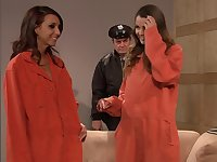 Insatiable lesbians from the prison couldnt wait to make love with each other and use sex toys