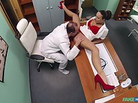 Mea Melone and an older doctor fuck in the examination room