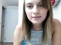 Cute teen in jeans on webcam