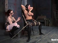 Fake boobs pornstar Dana Vixen tied up by slutty Claire Adams
