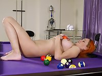 Redhead amateur Natali drops her clothes to play on the pool table