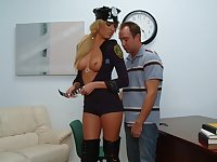 Sexy Blonde Cop Fucks Traffic Violator