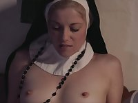 Dirty nuns in wimples and stockings secretly practice cunnilingus